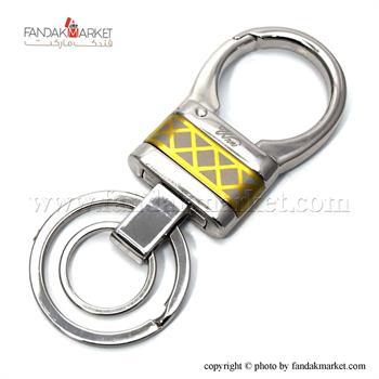 جاکلیدی دو حلقه ای فلزی با طرح طلایی