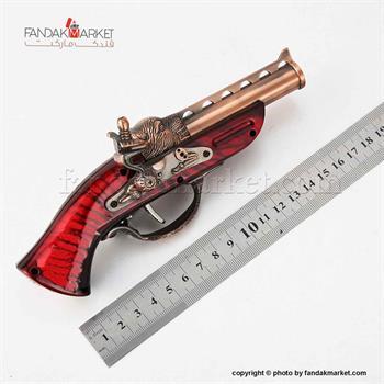 فندک دکوری مدل تپانچه شعله قرمز طرح ببر