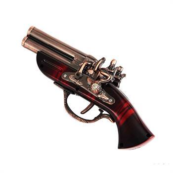 فندک دکوری مدل تپانچه دولول شعله قرمز