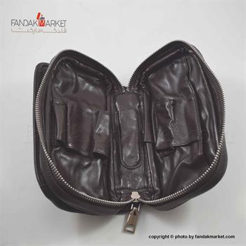 کیف پیپ چرمی زیپدار قهوه ای